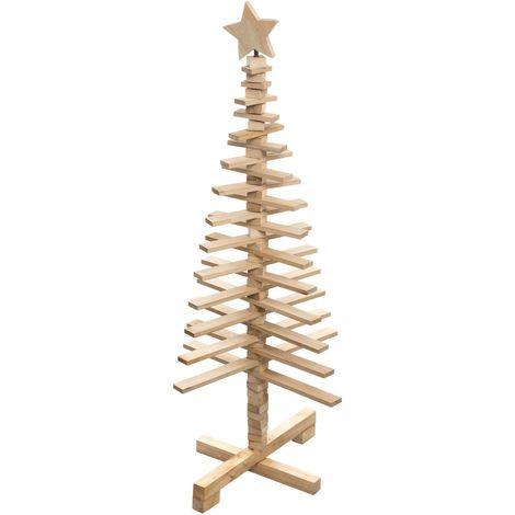 Sapin de Noël en bois articulé Lodge - H. 120 cm - 50 x 50 x 120 - Marron