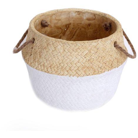 Cache-pot design panier tressé Naturel - Diam. 19 cm - Blanc - Blanc