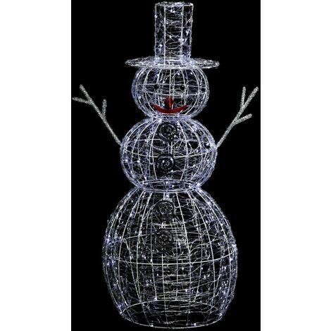 Déco extérieure lumineuse de Noël Bonhomme de Neige - L. 67 x H. 120 cm - Couleur blanc froid - Blanc