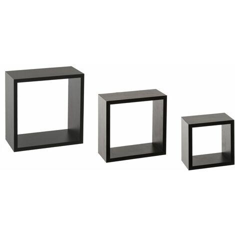 3 Etagères murales design cube Fixy - 25 x 9 x 25 - Noir