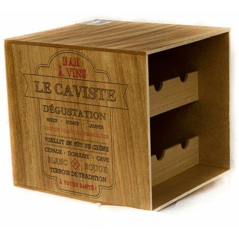 Cave à vin en bois - 6 Bouteilles - Le caviste - 30 x 33,5 x 30 - Marron