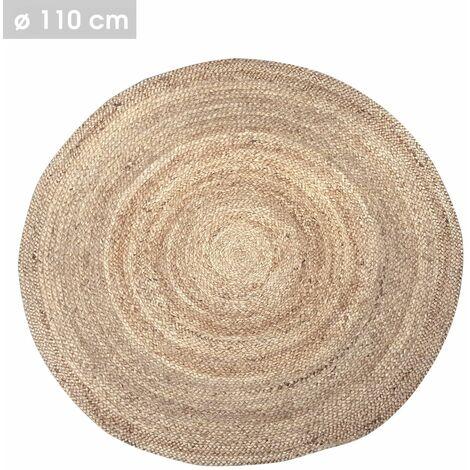 Tapis rond design jute Natural living - Diam. 110 cm - Couleur naturel - Marron