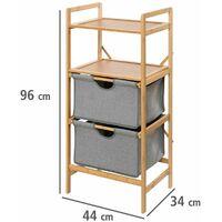Etagère de salle de bain en bambou 2 Tiroirs - H. 96 cm - 44 x 33 x 96 - Gris