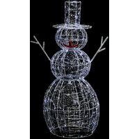 Déco extérieure lumineuse de Noël Bonhomme de Neige - 67 x 56 x 120 - Blanc