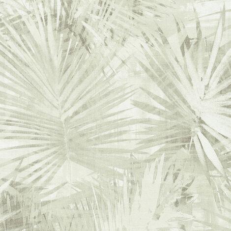 Papier peint intissé 363854 Hygge - Papier peint palmier Beige/Crème Vert - 10,05 x 0,53 m