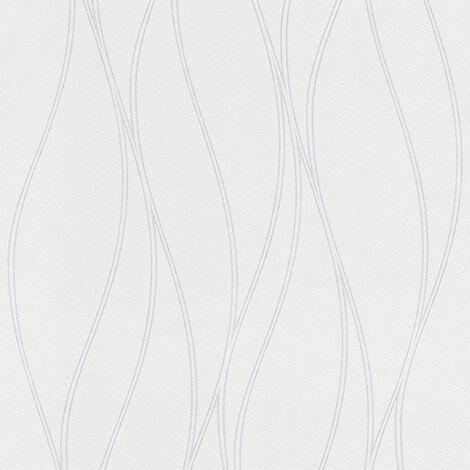 Papier peint à peindre blanc motif   Papier peint rayures vagues   Papier peint vinyle pour salon & couloir à choisir !244918 - 10,05 x 0,53 m