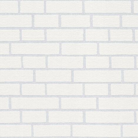 Papier peint brique Papier peint pierre Papier peint imitation brique Tapisserie imitation pierre À peindre Blanc 245311 - 10,05 x 0,53 m