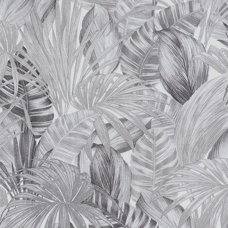 Papier peint intissé 368203 Greenery - Papier peint palmier Gris Noir/Anthracite Blanc - 10,05 x 0,53 m