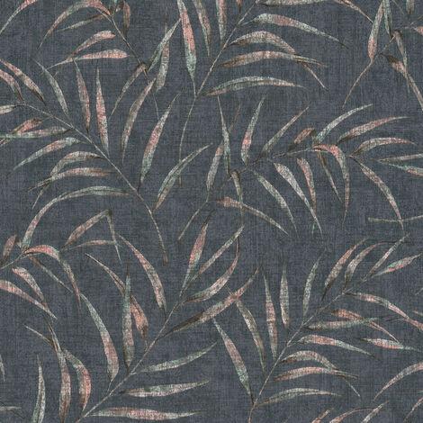 Papier peint intissé 373355 Greenery - Papier peint palmier Noir/Anthracite - 10,05 x 0,53 m