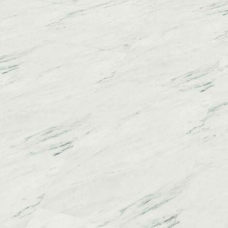 "Wineo 800 Stone XL | Dalle PVC clipsable ""White Marble"" - 48 cm x 91,4 cm"