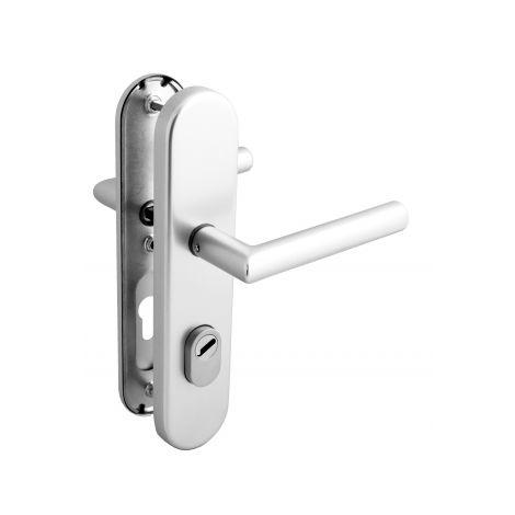 Poignée de porte d'entrée de sécurité plaque en Aluminium Clé I entraxe 210 mm, ALBA SÉCURITÉ
