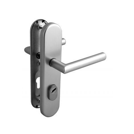 Poignée de porte d'entrée de sécurité plaque en Inox Clé I entraxe 210 mm, ALBA SÉCURITÉ