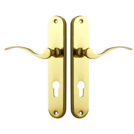 Poignée de porte d'entrée en laiton poli sur plaque Clé I entraxe 195 mm, ISCHIA