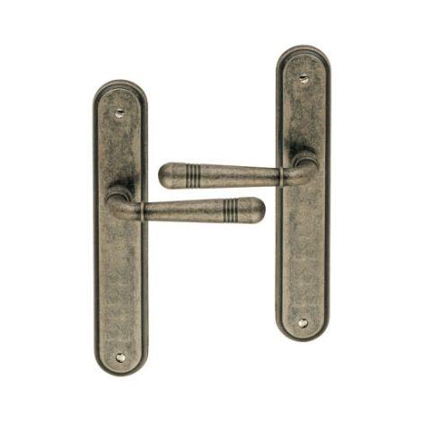 Poignée de porte intérieure en laiton patiné fer antique sur plaque BdC entraxe 195 mm, JOSEPHA-DIADÈME