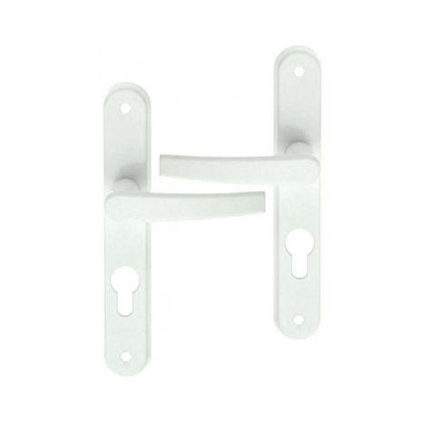 Poignée de porte d'entrée design en Aluminium laqué blanc sur plaque Clé I entraxe 195 mm, AVORIAZ