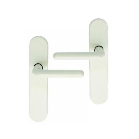 Poignée de porte intérieure design en nylon blanc sur plaque BdC entraxe 165 mm et 195 mm, FLORIDE