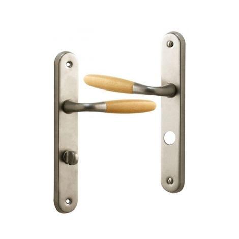 Poignée de porte intérieure design en Aluminium Nickel mat et bois clair sur plaque Conda/Déconda, JANICE