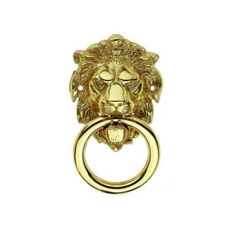 Heurtoir LION, en laiton poli titane, classique