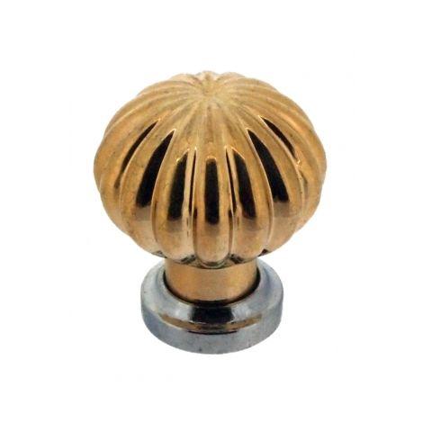 Bouton de porte et tiroir de meuble design en plastique doré brillant et embase chromé brillant Ø 22mm, MARGUERITE