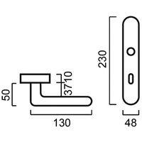 Poignée de porte intérieure en nylon gris foncé sur plaque Conda/Déconda entraxe 165 mm à 195 mm, TUBULAIRE