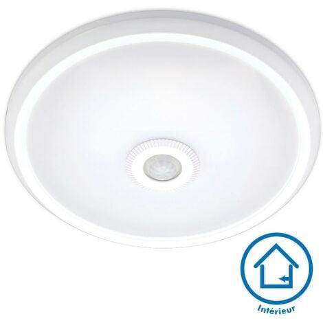 Plafonnier détecteur de mouvement IP20 12W LED CLARK Blanc naturel   Température de Couleur: Blanc neutre 4000K