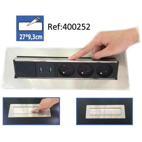 Bloc 3 prises 2P+T et 2 ports USB intégrés escamotable Pivotant