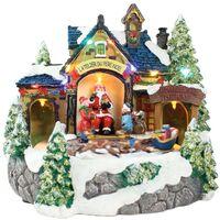 Village du Père Noël lumineux animés à piles