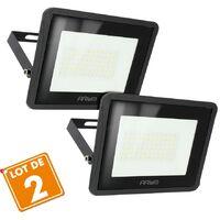 Lot de 2 Projecteurs LED 50W Forte luminosité 4500 Lumens IP65   Température de Couleur: Blanc chaud 3000K