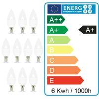 Lot de 10 ampoules LED E14 5.5W eq 40W | Température de Couleur: Blanc chaud 3000K