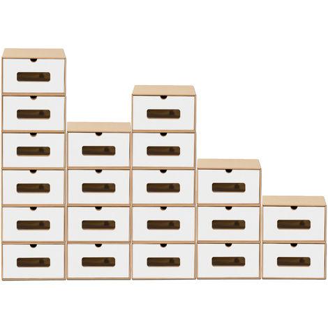 20x Schuhaufbewahrung BRAUN / WEISS mit Sichtfenster Aufbewahrungsbox Stapelbar Storage Box Schuhbox Schuhkarton Schuhschachtel Allzweckbox Schublade Pappe aus Kraftpapier