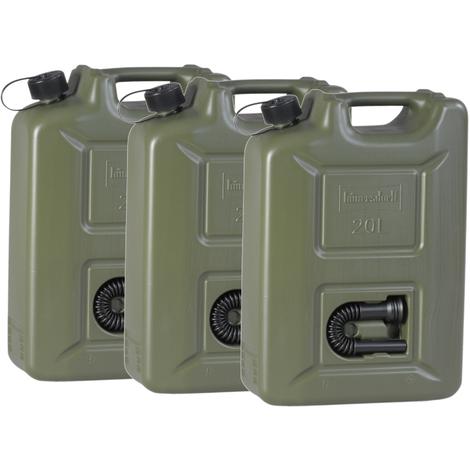 3er Set Benzinkanister 20 Liter Kraftstoffkanister olivgrün 20L UN-Zulassung Diesel Benzin