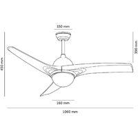 Ventilatore LED da Soffitto Aran Bianco 107cm Motore DC