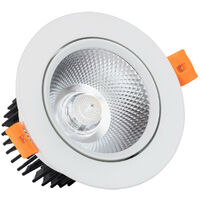 Faretto Downlight LED COB Orientabile Rotondo 12W (UGR19) Bianco Foro Ø 90 mm Bianco Freddo 6000K