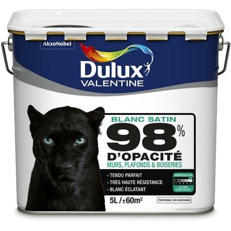 Peinture Phase Aqueuse Monocouche Satin 98% d'opacité 5 L - Dulux Valentine - Blanc (Blc BW)