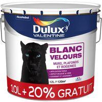 Peinture acrylique bicouche intérieure Blanc Velours 12L - Dulux Valentine