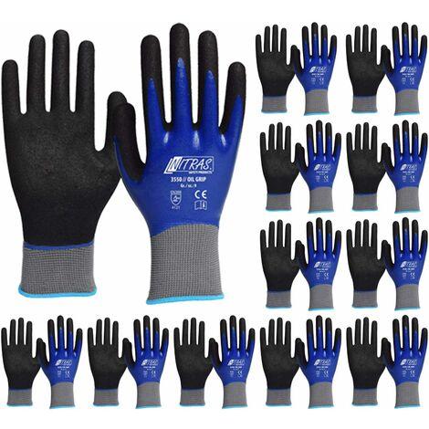 9 Arbeitshandschuhe Handschuh Montagehandschuh 12x Nitras Nitrilhandschuhe Gr