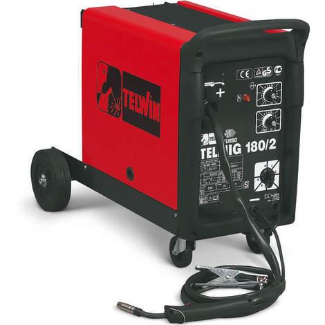 TELWIN Telmig 180/2 Turbo MIG/MAG Schweissgerät mit 230V, Set inkl. Schlauchpaket, Schweissbrenner, Masseanschlussgarnitur und Druckminderer
