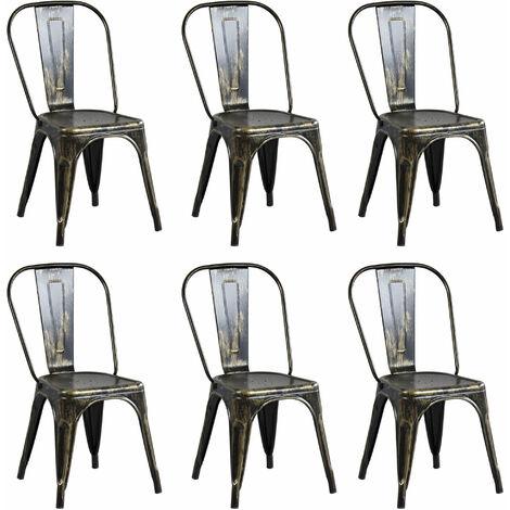 Set Di 6 Sedie In Metallo Di Design Moderno Industrial Vintage Per Sala Da Pranzo Bar