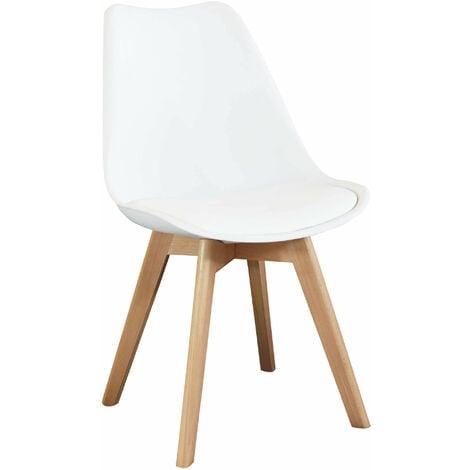 Sedia Moderna Di Design Imbottita Bianca Con Gambe In Legno Per Sala Da Pranzo Cucina Ufficio