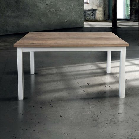 Tavolo Da Pranzo Moderno Di Design Allungabile Cm 70 X 110 150 190 Struttura Bianca Piano