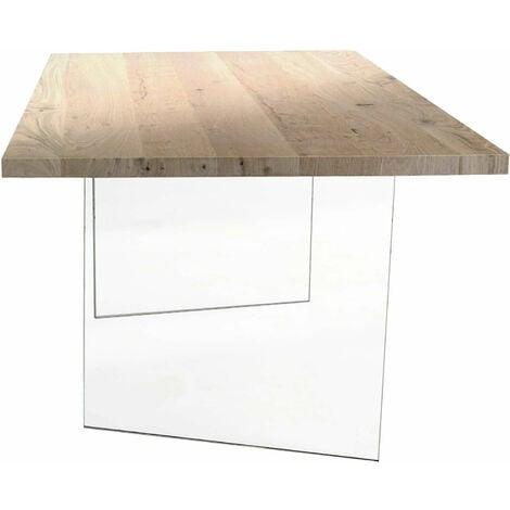 Tavolo Da Pranzo Moderno Di Design Cm 160 X 90 Rovere Impiallacciato Struttura In Vetro Piano