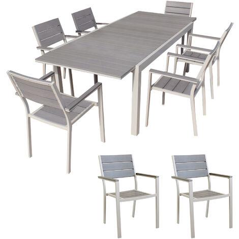 Set Tavolo Giardino Allungabile Rettangolare 180 240 X 100 Con 8 Poltrone In Alluminio Tortora Per