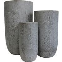 Set Di 3 Vasi Per Piante Da Esterno Interno Di Design Con 3 Dimensioni In Fibra Sintetica Resistente
