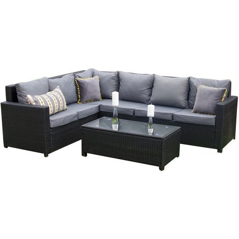 Rattan Outdoor Corner Sofa Set Garden Furniture in Black