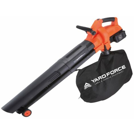 Yard Force 40V Cordless 3-in-1 Blower Vacuum & Mulcher with 230km/h Air Speed, Lithium Ion battery and Charger LB C20