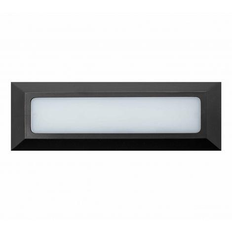 Baliza de Superficie Led Wall Long Rectangular Negro 3.8W IP65 Blanco Cálido 3000K | IluminaShop