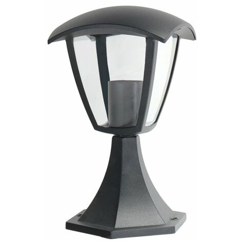 Baliza Farol Negra para Exterior Jardín 1XE27 295mm IP44 Negro   IluminaShop