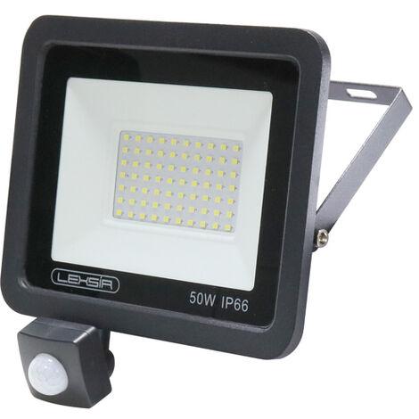 Foco Proyector LED SMD Lexsir 50W Regulable con Detector de Movimiento PIR IP66 Blanco Frío 6000K | IluminaShop