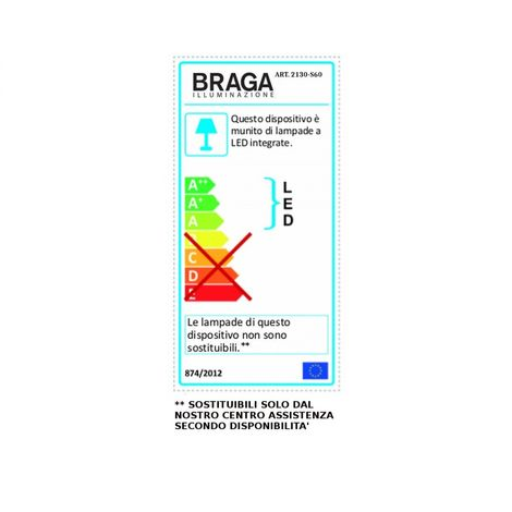 Sospensione Fratelli Braga Spira 2130 S60 82w Led 4600lm 4000 K 60cm Ip20 Alluminio Lampadario