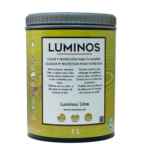 Luminos LUM1108 - LIME - Lasur al Agua Protector Madera Exterior Color Lima. 1L
